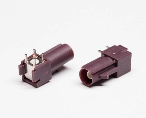 FAKRA SMB Connector C Type Brown PCB Mount Plug Through Hole